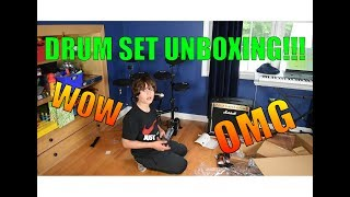 Electric Drum Set Unboxing + Setup + Review!!!