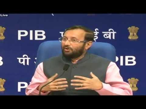 Shri Prakash Javadekar addressing a Press Conference about the initiatives of his Ministries