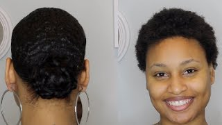 How to Slick Down TWA in Ponytail with Bun Tutorial- Short natural hair