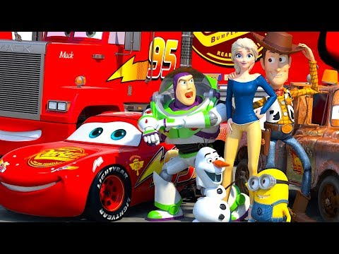 Disney Pixar CARS Meet TOY STORY Lightning McQueen Buzz Lightyear & Woody ANIMATION SHORT