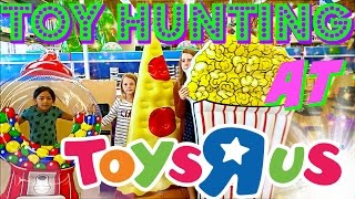 TOY HUNT at TOYS R US!!! shopping for New Toys and GIANT food pool floaties!! Toy Hunting FUN DAY!