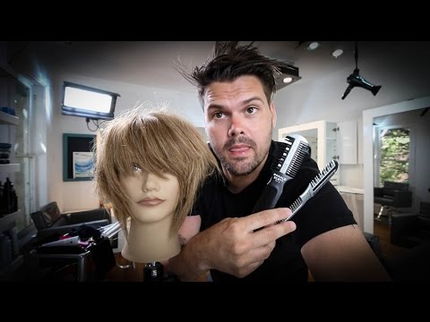 Short Layered Bob Haircut Tutorial With a Razor - Haircutting Tricks w/ a Razor   MATT BECK VLOG 54