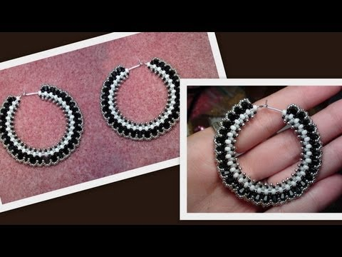 Beaded Hoop Earrings with Swarovski bicones Beading Tutorial by HoneyBeads (Photo tutorial)