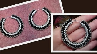 Beaded Hoop Earrings with Swarovski bicones Beading Tutorial by HoneyBeads1 (Photo tutorial)