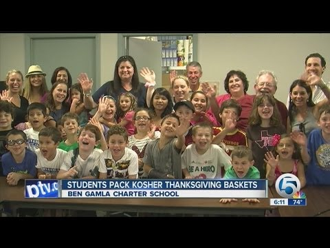 Ben Gamla Charter School prepare Thanksgiving meals for less fortunate