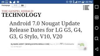 Android Nougat 7.0 updates for LG G5 ,G4,G3,G Stylo,V10,C20