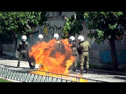 Greece: Molotov at cops and a burnt bus after protest to German Embassy