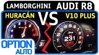 ★ 0-200 km/h • (2015) Audi R8 V10 Plus vs Lamborghini Huracán LP 610-4 (Option Auto)