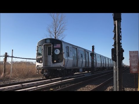 NYC Subway HD 60FPS: 30 Minutes of Train Spotting @ Broad Channel w/ R179 Test Train (3/29/17)