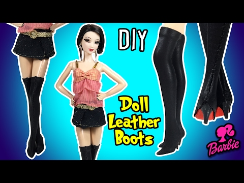DIY Barbie Doll Leather Boots Tutorial - How to Make Easy Doll Shoes - Making Kids Toys