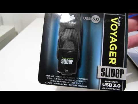 Corsair Flash Voyager Slider USB 3.0 Drive Speed Test / Review / Unboxing