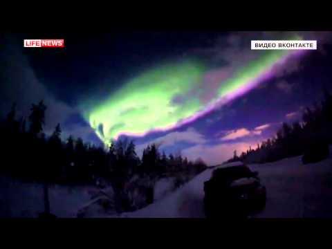 Northern lights in Russia, Murmansk / Житель Мурманской области снял на видео полярное сия
