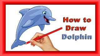 Step by Step how to Draw and color Dolphin for kids|Simple Coloring pages for  children| kids Arena