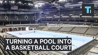 Turning a pool into a basketball court