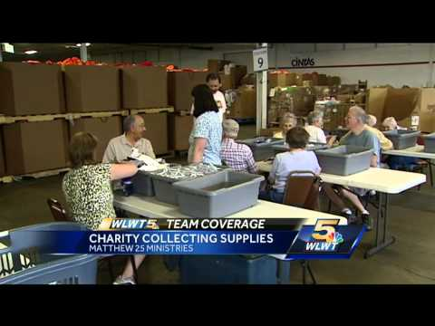 Charity collecting supplies for tornado victims