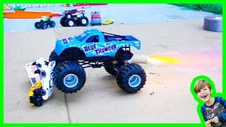 MONSTER TRUCK ROCKET CRUSHES HOT WHEELS CARS - Learning Rocket Science for Kids