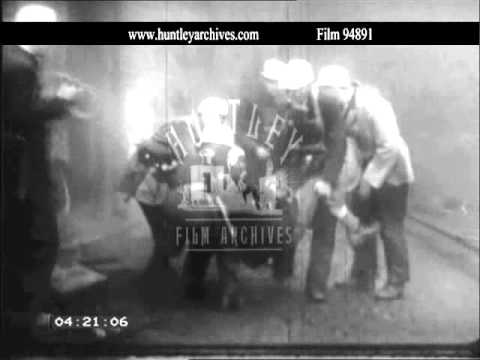 Coal Board rescue training exercise, 1960's.  Archive film 94891