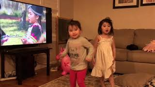 Dancing to Hmong kids songs