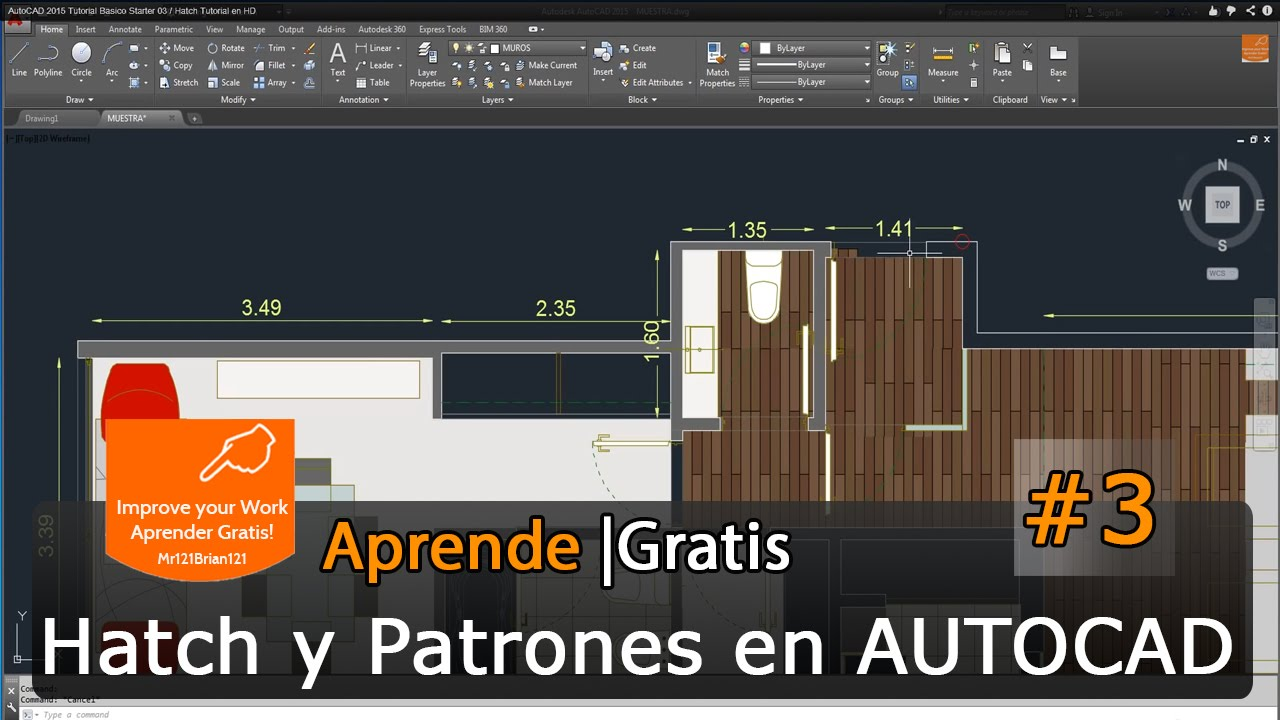 Autocad 2015 tutorial basico starter 03 hatch tutorial en hd