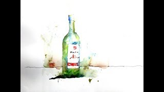 Drawing and Painting a Green Wine Bottle in Watercolor  with Chris Petri ( Part 1 of 2 )