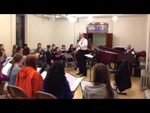 Paul French rehearses with St. John Cantius Magnificat Choir and Willows Academy Chamber Choir