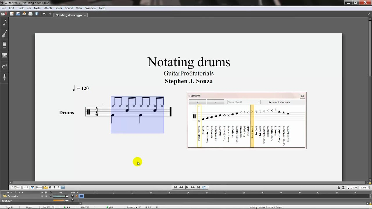Guitar Pro 6 tutorial - Drum notation - YouTube