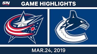 NHL Game Highlights | Blue Jackets vs. Canucks – March 24, 2019