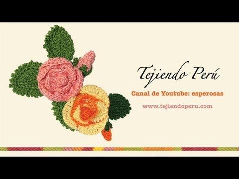 Rosas (flores y botones) tejidos a crochet