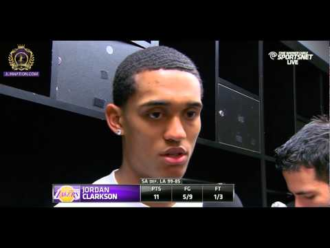 Jordan Clarkson post game interview. 1st start as a PG for the Lakers