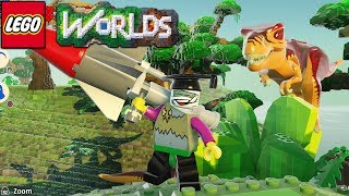 Lego Worlds - Shooting Dinosaurs With A Megazooka! [26]