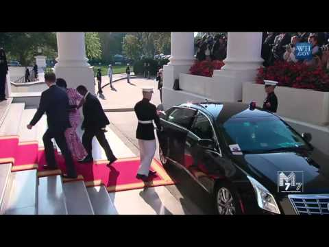 Malawi president Arthur Peter Mutharika  and spouse Gertrude arrive at the White House Diner