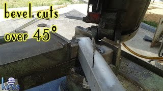 How to Build a Steel Structure House Part5 Bevel cuts over 45° by a 45° disk saw machine