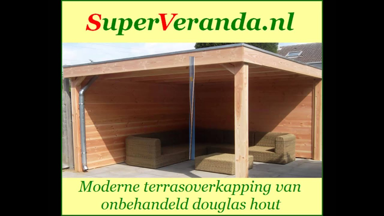 Houten veranda terrasoverkapping bouwpakket zelf bouwen montage ...