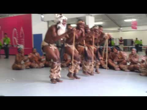 Botswana Tribe (Bushmen) Dancers In the Athletes Village Welcome Centre. Tsutsube Dance