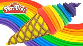 Play-Doh How to Make a Waffle Cone with Rainbow Ice Cream * Creative Fun for Kids RainbowLearning