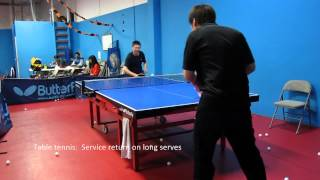Table tennis: Service return against long serves