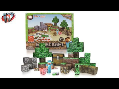 Minecraft: Overworld Deluxe Pack Papercraft Toy Review. Jazwares