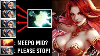 NEW STYLE Electric Gun Lina vs Meepo Mid Crazy AOE Burn Damage MAX Attack Speed by Dust 7.22 Dota 2