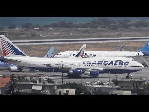Hard landing TRANSAERO B747 - Rhodes Airport LGRP