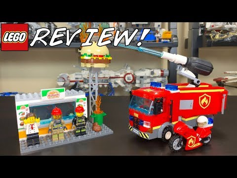 LEGO City 2019 Burger Bar Fire Rescue Review! Set 60214! + Water Pump TEST!
