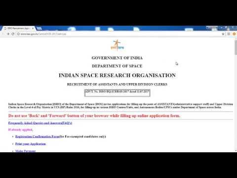 ISRO letest recruitment/how to fill isro online fill form 2017/ISRO Assistant & Clerk Online Form