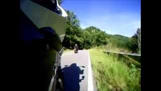 BMW K1300S and the GoPro Hero mowing some roadside grass