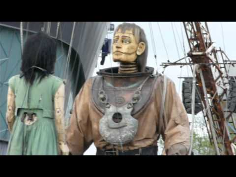 Little Girl Giant and Uncle hug and Girl dances - Titanic Story, Sea Odyssey Liverpool 2012 Day 2