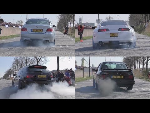 Cars Leaving Cars&Coffee Twente 2017! BRUTAL SOUNDS & BURNOUTS!