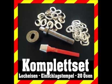 Einschlagstempel für 10 mm Ösen  Rundösen Locheisen 20 Stück Ösen Starterset