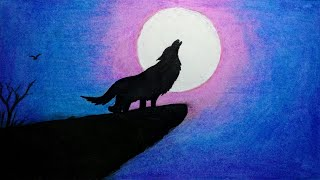 How to draw Scenery of Moonlight Wolf with Oil Pastel step by step