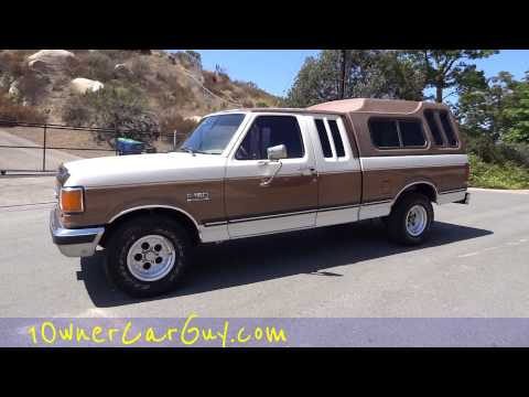 1990 Ford F150 XLT Lariet Supercab 1 Owner  4.9L Straight 6 Custom Topper Walkaround Test Drive