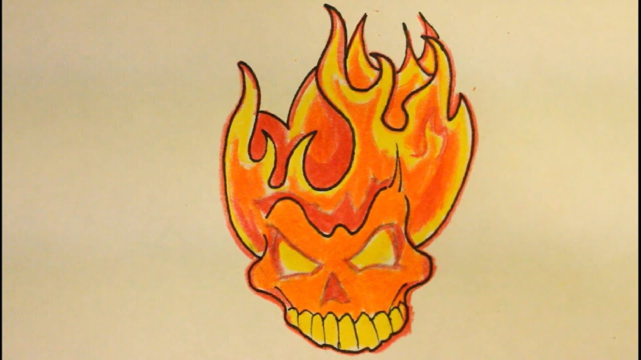 How To Draw A Skull On Fire| With Flames|Easy| For ...