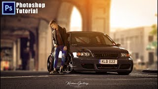 Photoshop Photo Manipulation with One Simple Car Background In Hindi
