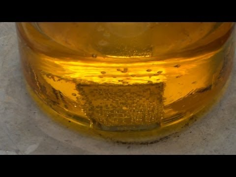 Platinum Bar Dissolving in Acid (Aqua Regia)